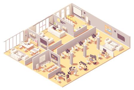 Vektorisometrisches Firmenbüroinnenraum. Empfang, Konferenzraum, Präsentationsraum, Chef- oder CEO-Büro, andere Arbeitsplätze mit Computern, Büroausstattung und Erholungsbereich