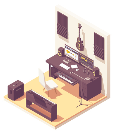 Vector isometric home music recording studio with related equipment. Keyboards, guitar, amplifier, audio interface, microphone, headphones and computer with sound editing software