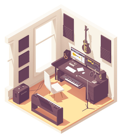 Vector isometric home music recording studio with related equipment. Keyboards, guitar, amplifier, audio interface, microphone, headphones, desk and computer with sound editing software Illusztráció