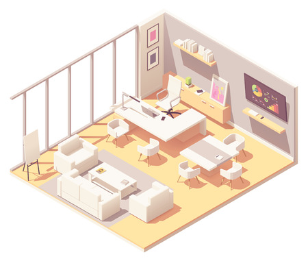 Vector isometric CEO office interior. White modern desk with laptop and lamp, bookshelf, large tv, sofa and chairs, flip chart board and other office equipment and furniture