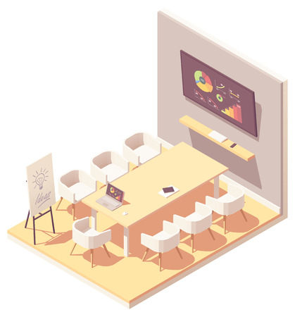 Vector isometric office meeting room interior Illustration