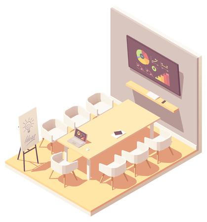 Vector isometric office meeting room interior Illustration