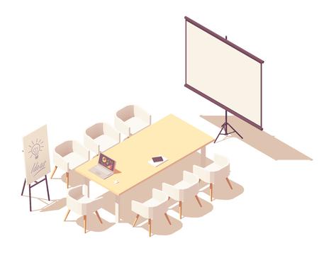 Vektorisometrische Bürokonferenz oder Konferenzrauminnenraum. Großer Schreibtisch, Stühle, Fernsehbildschirm mit Präsentationsdiagrammen, Laptop