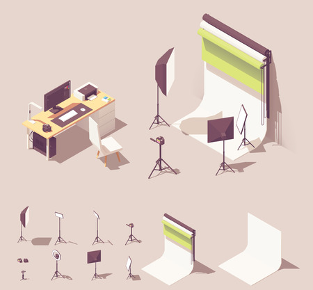 Vector isometric photo studio equipment. Includes lighting equipment, white and color backdrops, camera, tripod, photographer desk with computer and photo printer