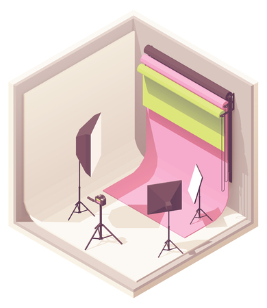 Vector isometric photo studio with lighting equipment, white and color backdrop, camera on the tripod Illustration