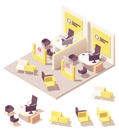 Vector isometric customer service department interior. May be used as bank or insurance agency interior, store customer service etc