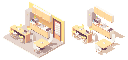 Vector isometric kitchen. Kitchen furniture, fridge, microwave oven, sink, tables with chairs and electric stove Illustration