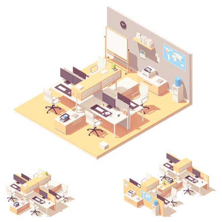Vector isometric corporate office interior with cubicle desk, computers, office chairs, other furniture and two types of cubicle desks