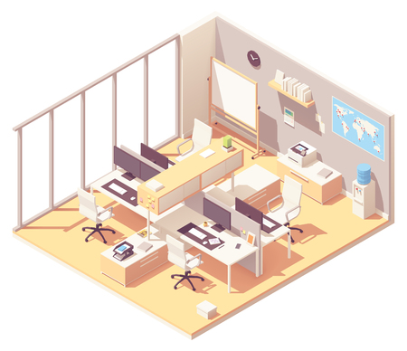 Vector isometric corporate office interior. Office furniture, cubicle desk, desktop computer with monitors, printer, water cooler, flip chart, world map with pins, stationery Standard-Bild - 114698031