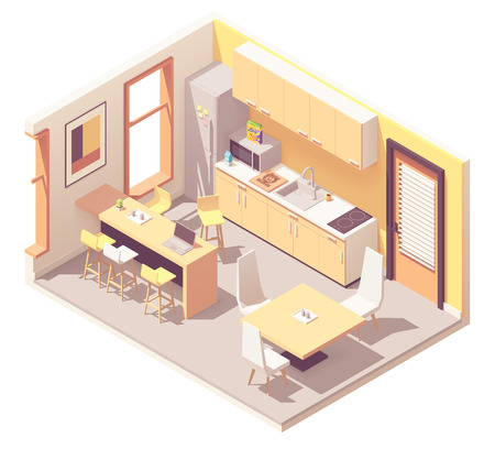 Vector isometric corporate office break room or kitchen. Kitchen furniture, fridge, microwave oven, sink, tables, chairs, stove Banco de Imagens - 126416165