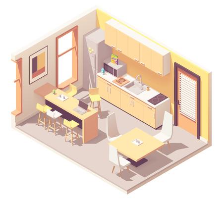 Vector isometrische corporate kantoor pauzeruimte of keuken. Keukenmeubels, koelkast, magnetron, spoelbak, tafels, stoelen, fornuis