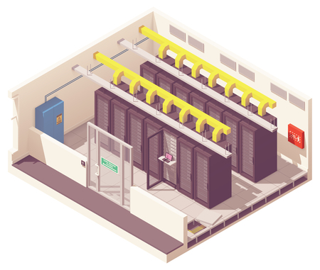 Vector isometric server room or data center with server racks and air conditioning system and card reader access. Big data processing, blockchain technology, cryptocurrency mining or cloud computing