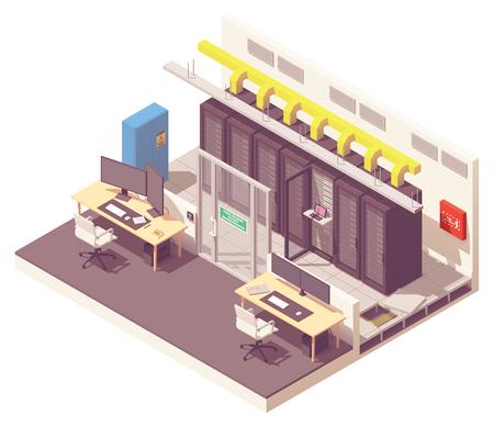 Vector isometric data center interior