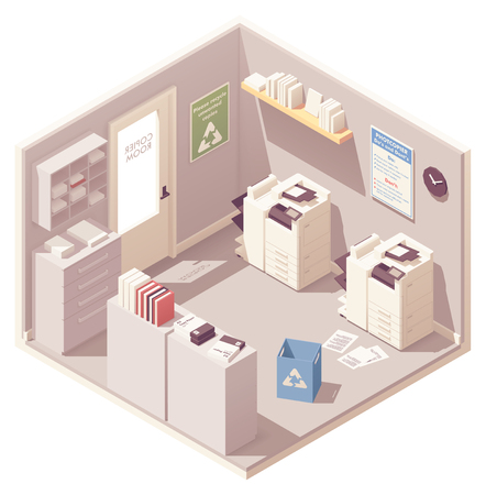 Vector isometric office copy room with two photocopiers or copy machines, filing cabinet for documents, folders with papers and trash can for unwanted copies Illustration