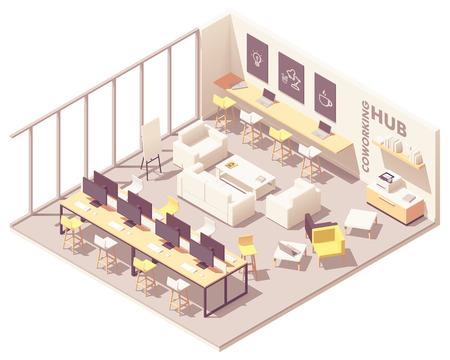 Plano interior de espacio abierto de coworking moderno isométrico de vector con lugares de trabajo, escritorios, computadoras, impresora, banco de trabajo, sofá y otros muebles