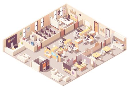 Plano interior de la oficina corporativa isométrica de vector. Recepción, ascensor, sala de conferencias, sala de presentaciones, oficina ejecutiva o del CEO, lugares de trabajo con computadoras, cocina, área de relajación y equipo de oficina. Ilustración de vector