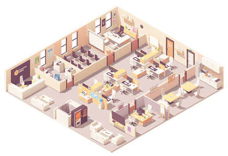Vector isometric corporate office interior plan. Reception, elevator, conference room, presentation room, executive or CEO office, workplaces with computers, kitchen, relax area and office wquipment Ilustracje wektorowe