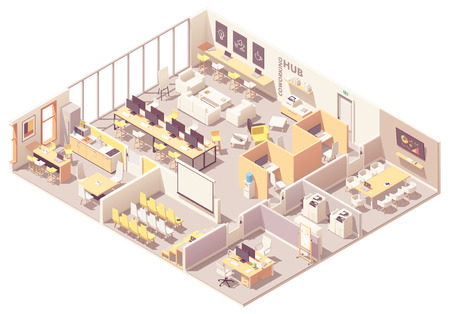 Vector isometric modern coworking space interior plan with open space, workplaces, conference room, copy room, presentation room, cubicles and kitchen