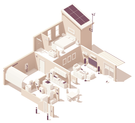 Vector isometric smart home illustration. House cross-section, garage, kitchen, living room, bedroom and bath. Electronics, appliances and smart home devices Illustration