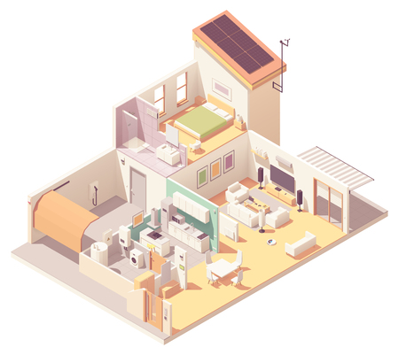 Vector isometric house cross-section. Garage, kitchen, living room, bedroom and bath included. Solar panels on the roof, electronics, appliances and smart home devices