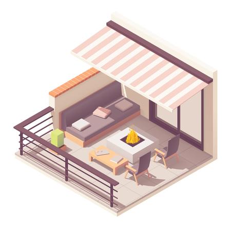 Balcón isométrico de vector con muebles de exterior Ilustración de vector