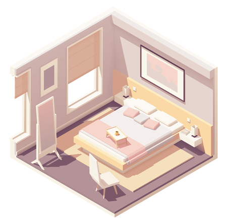 Vector isometric bedroom