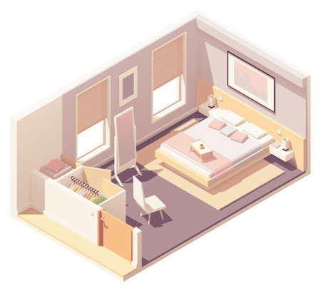 Vector isometric bedroom and wardrobe 向量圖像