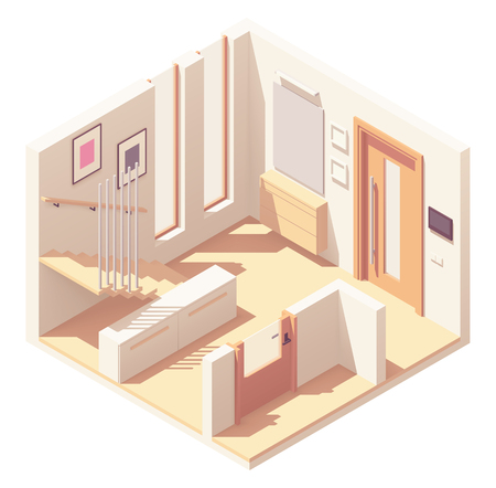 Vector isometric hallway with wooden staircase Çizim