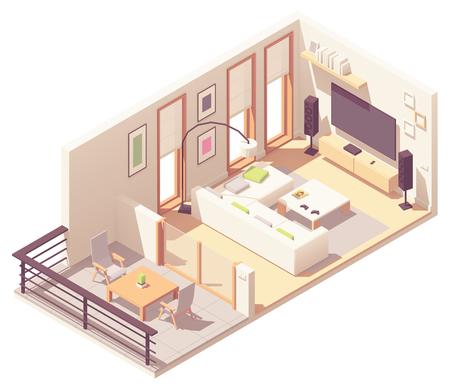 Sala de estar isométrica de vector con balcón