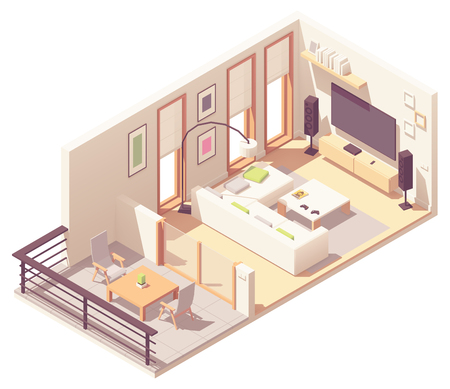 Vector isometric living room with balcony 写真素材 - 116598292