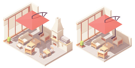 Vector isometric patio with barbecue grill Illusztráció