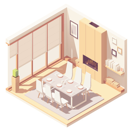 Vector isometric dining room interior