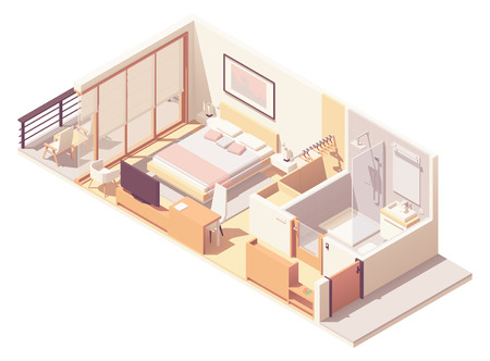 Vector isometric hotel room cross-section Standard-Bild - 117177608