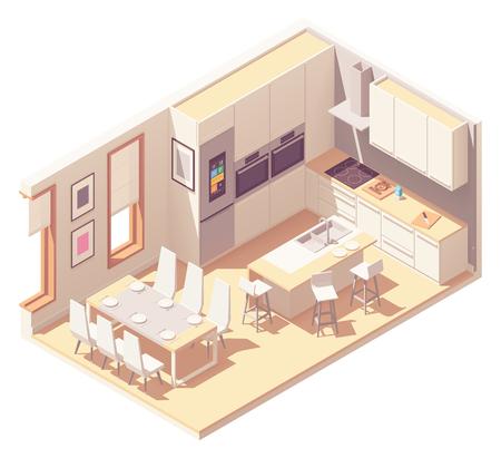 Interior de cocina isométrica de vector Ilustración de vector