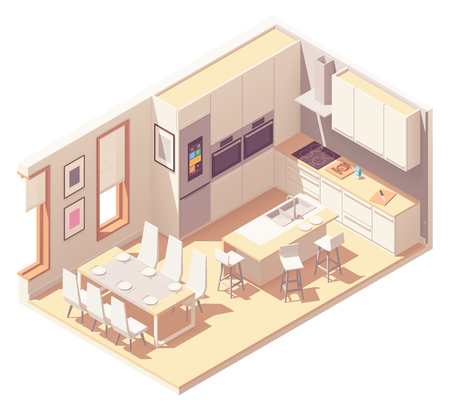 Vector isometric kitchen interior Vectores