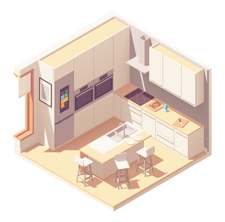 Vector isometric kitchen interior  イラスト・ベクター素材