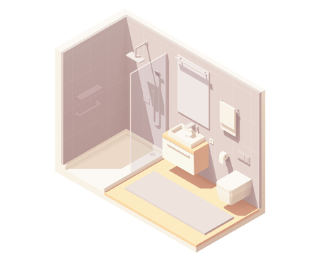 Vector isometric small bathroom interior cross-section with shower cabin, washbasin, toilet, and towel warmer Illustration