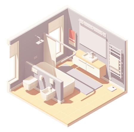 Vector isometric bathroom interior Ilustração