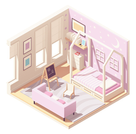 Vector isometric children s room Standard-Bild - 118850538