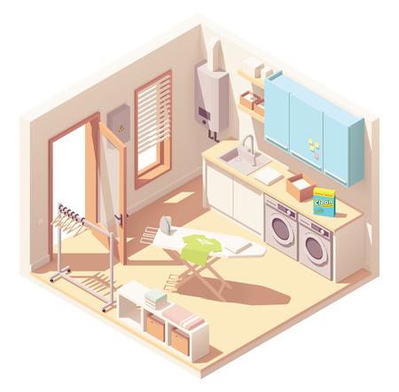 Sala de lavandería isométrica vectorial o sección transversal interior del cuarto de servicio con lavadora, secadora de ropa, muebles, calentador de agua sin tanque, fregadero, tabla de planchar y perchero