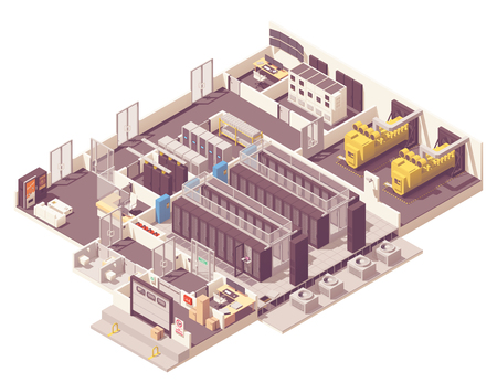 Vector isometric data center. Server room with hot and cold aisle containment, generator, UPS and battery rooms, CRAC unit with compressor, Network operations center and other equipment Illustration