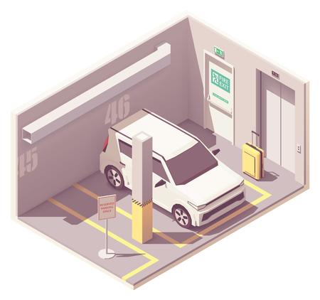 Garage de stationnement de voiture isométrique de vecteur Vecteurs