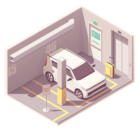 Vector isometric car parking garage  イラスト・ベクター素材