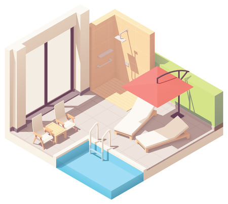 Vector isometric home or hotel resort outdoor pool lounge with umbrella, shower and pool chaise lounges Illustration