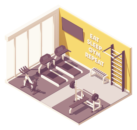 Vektorisometrischer Innenquerschnitt des Fitnessraums mit Fitnessgeräten. Laufband, Heimtrainer oder Fahrrad, schwedische Leiter, Hantelbank und große Fenster