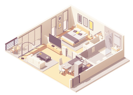 Vector isometric apartment hotel or aparthotel suite interior cross-section with double bed, big windows and balcony, tv, small bathroom, shower cabin and toilet Illustration