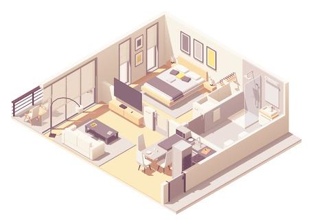 Vektorisometrischer Innenquerschnitt eines Apartmenthotels oder einer Aparthotelsuite mit Doppelbett, großen Fenstern und Balkon, Fernseher, kleinem Badezimmer, Duschkabine und WC Vektorgrafik