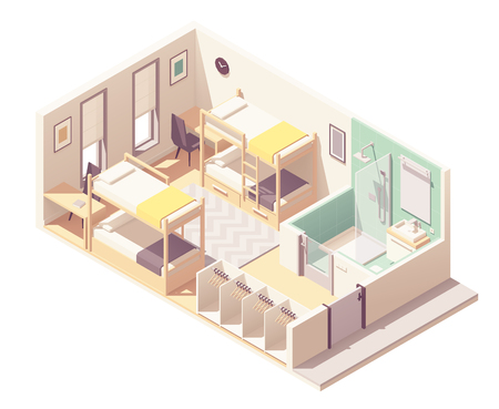 Vector isometric hostel room or dormitory room interior cross-section with bunk beds, small bathroom, shower cabin and toilet, wardrobe