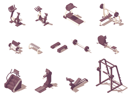 Vector isometric gym exercise machines set 写真素材 - 122042456