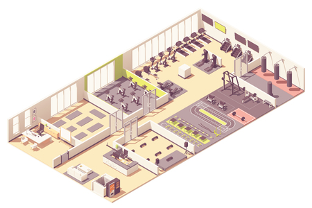 Vector isometric fitness club or gym interior